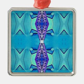Nuances modernes vibrantes de pourpre bleu ornement carré argenté