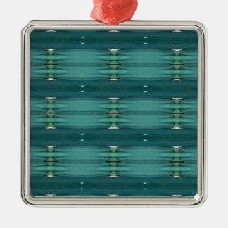 Nuances neutres de genre de motif moderne bleu ornement carré argenté