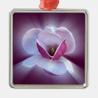 nuances roses de magnolia ornement carré argenté