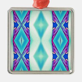 Nuances tribales modernes de lavande turquoise ornement carré argenté