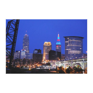 Nuit de Cleveland sur la copie de toile de ville