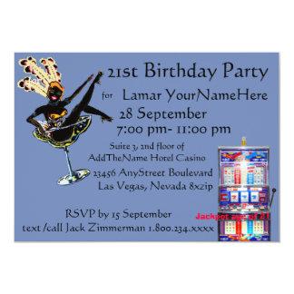 Nuit de garçons d'anniversaire de Las Vegas Carton D'invitation 12,7 Cm X 17,78 Cm