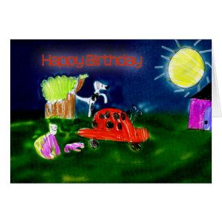 Nuit de Mlle Q de joyeux anniversaire Carte De Vœux