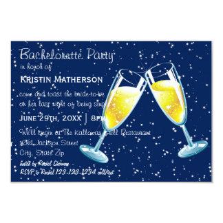 Nuit en verre de Champagne - partie de 3x5 Carton D'invitation 8,89 Cm X 12,70 Cm