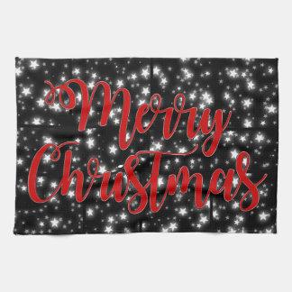 Nuit étoilée de Joyeux Noël de serviette de