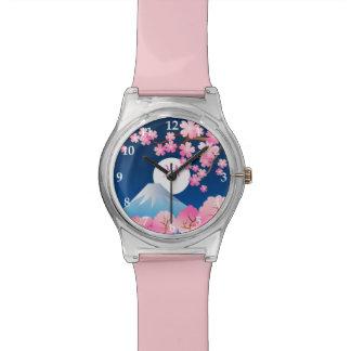 Nuit Sakura du Japon de ressort de fleurs de Montres Cadran