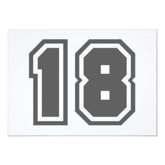 Numéro 18 carton d'invitation  12,7 cm x 17,78 cm