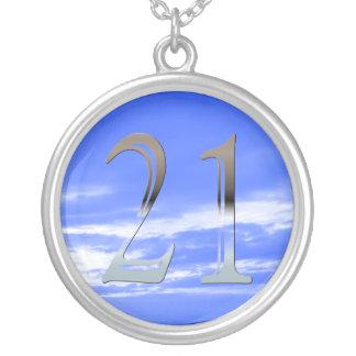 Numéro argenté personnalisé 21 de 21ème collier