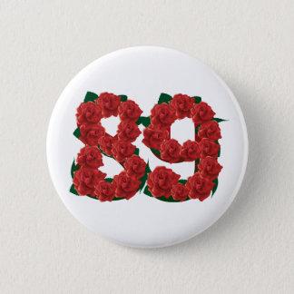 Numéro fleur de 89 ou quatre-vingt-dix-neuvième badge rond 5 cm