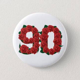 Numéro roses rouges de 90 ou quatre-vingt-dixième badge rond 5 cm