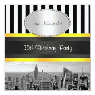 NY de Gele Verjaardag van BW Blk Wht Strp van de 13,3x13,3 Vierkante Uitnodiging Kaart