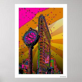 NYC psychédélique : Bâtiment et horloge #2B de Poster