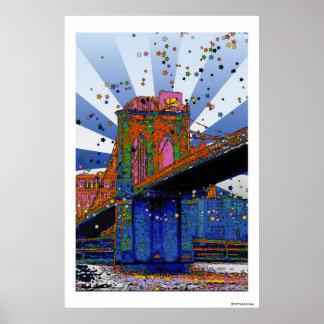 NYC psychédélique : Pont de Brooklyn #2 Poster