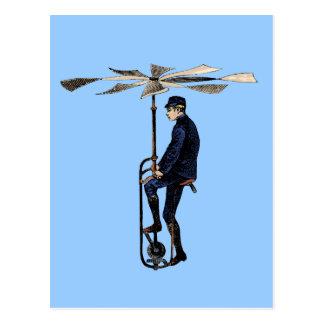 Objet victorien vintage de vol d'hélicoptère carte postale