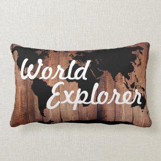 Obscurité rustique de carte du monde d'explorateur coussin rectangle