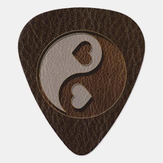 Obscurité simili cuir de coeur de Yin Yang Onglet De Guitare