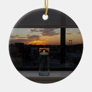 Observation du coucher du soleil ornement rond en céramique