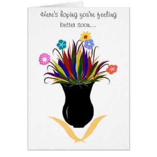 Obtenez à vase bientôt joli bon les fleurs carte