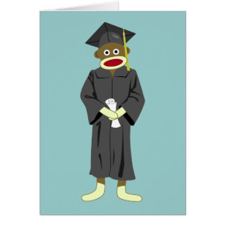 Obtention du diplôme de singe de chaussette carte de vœux