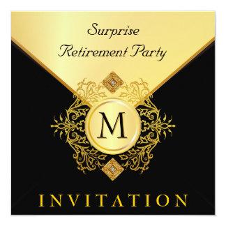 Occasion spéciale de monogramme noir élégant d'or carton d'invitation  13,33 cm