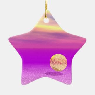 Océan à la dérive et abstrait de violette d'or ornement étoile en céramique