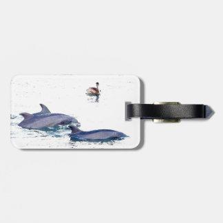Océan d'animaux de faune de dauphins de Bottlenose Étiquette À Bagage