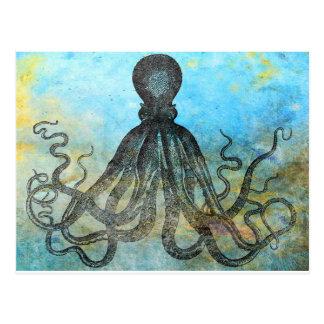 OctopusCollage vintage Carte Postale