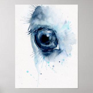 Oeil abstrait de cheval d'aquarelle