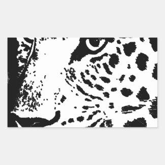 Oeil noir et blanc de léopard sticker rectangulaire