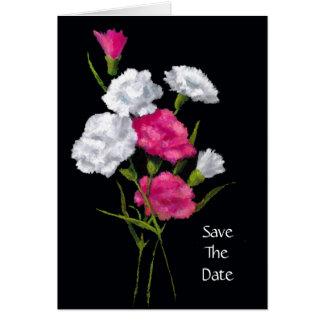 Oeillets : Rose, blanc : Réservez la date Carte De Vœux
