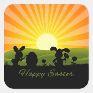 Oeuf mignon de peinture de lapin de Pâques - Sticker Carré
