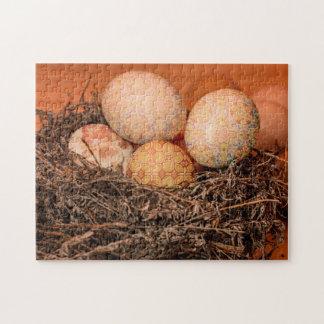 Oeufs de pâques rustiques dans le nid puzzle