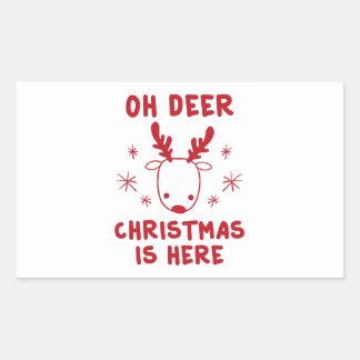Oh cerfs communs sticker rectangulaire