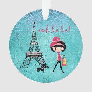 Oh fille et chat personnalisés de Paris de La de