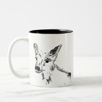 Oh illustration de cerfs communs tasse 2 couleurs