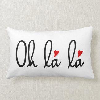 Oh La de La, art français de mot avec les coeurs Coussins Carrés