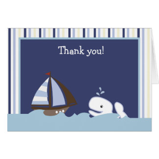 OH note pliée de Merci de baleine blanche de Carte De Correspondance