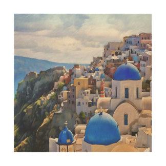 Oia, Santorini. Peinture de Greece.Oil. Art en