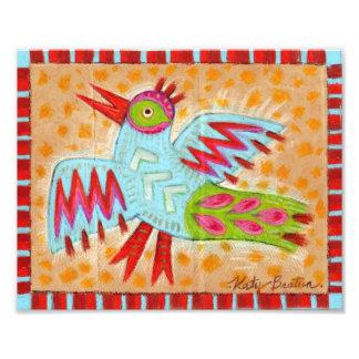 Oiseau abstrait d'art populaire de zigzag impressions photographiques