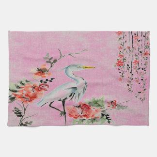 Oiseau asiatique de grue de fleur de serviette de