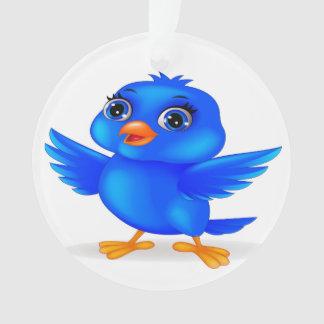 Oiseau bleu d'ornement rond de décor d'année de