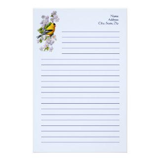 Oiseau de chardonneret et fleurs d'Apple bleues Papier À Lettre