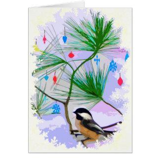 Oiseau de Chickadee dans la carte d'arbre de Noël