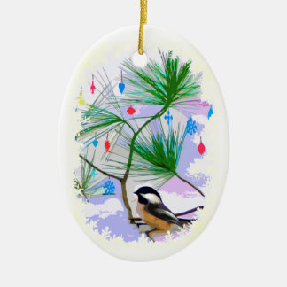 Oiseau de Chickadee en ornement d'arbre de Noël