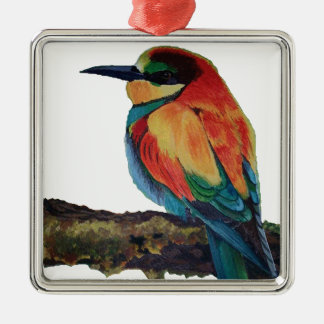 Oiseau de couleurs ornement carré argenté