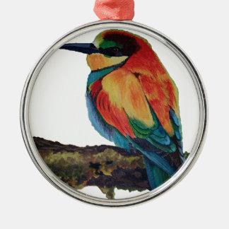 Oiseau de couleurs ornement rond argenté