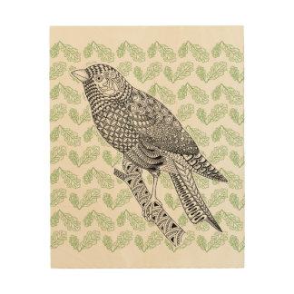 Oiseau de griffonnage impression sur bois