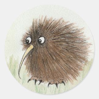 Oiseau de kiwi adhésif rond