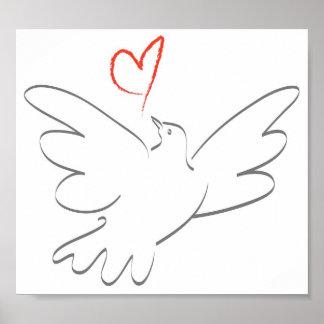 Oiseau de paix et de coeur