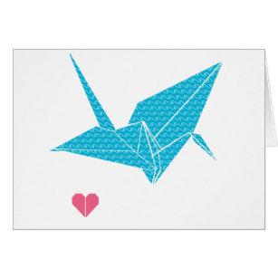 oiseau d'origami avec le coeur